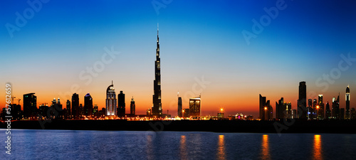 Recess Fitting Dubai Dubai skyline at dusk seen from the Gulf Coast