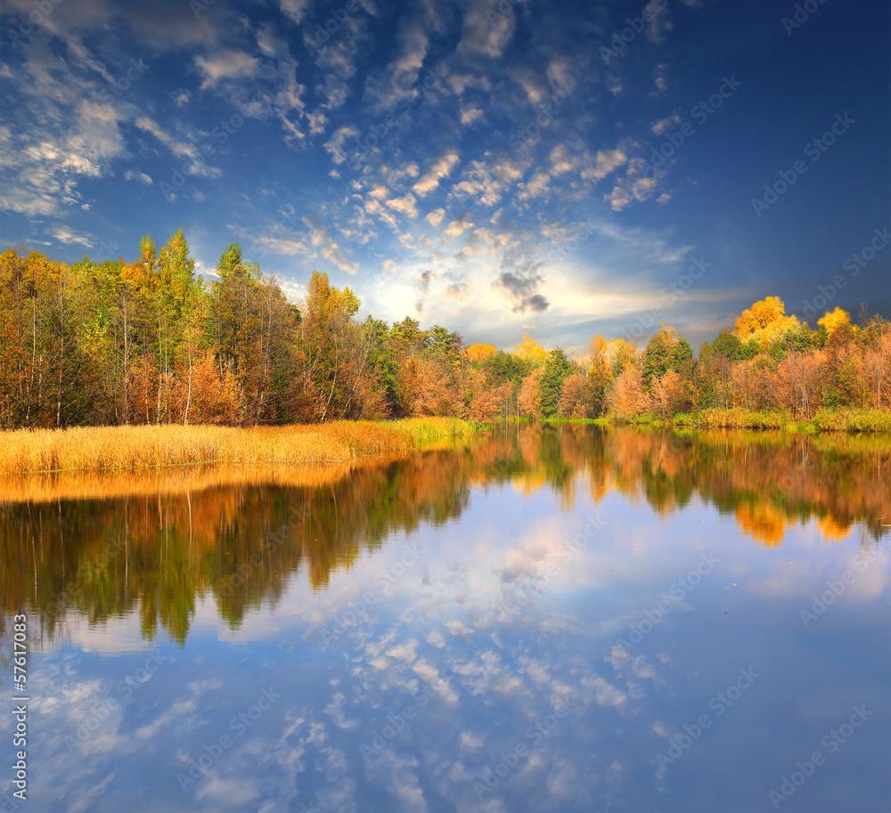 Fototapeta Autumn scene on lake