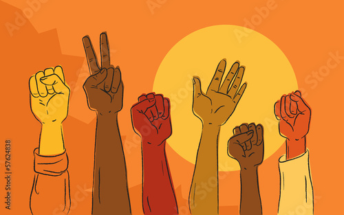 Hands at political protest march Wallpaper Mural