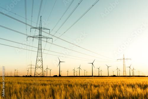 Photo  Strommasten, Kornfeld und Windräder im herbstlichen Gegenlicht
