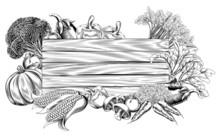 Vintage Retro Woodcut Vegetable Sign