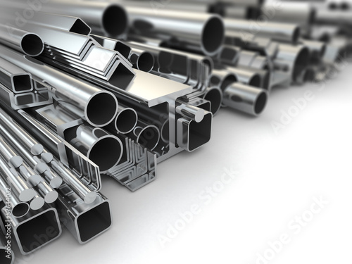 Photo Metal profile and steel pipes. Background. 3d