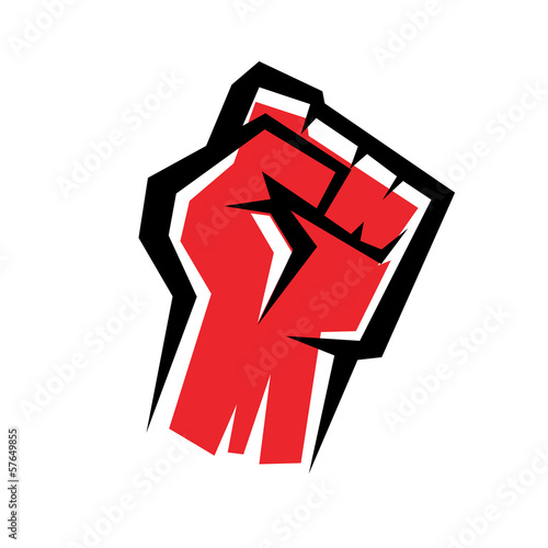 Valokuvatapetti fist stylized vector icon, revolution concept