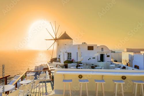 Greece Santorini island Oia sunset, view above caldera with sea
