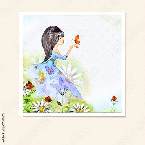 Fotobehang Bloemen vrouw Girl in flowers watercolor