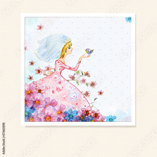 Foto op Canvas Bloemen vrouw Girl in flowers watercolor