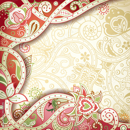 Abstract Floral Frame Background