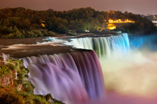 Niagara Falls Lit At Night By ...
