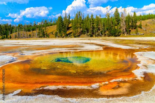 Fotobehang Natuur Park Chromatic Pool, Yellowstone National Park, Upper Geyser Basin, W
