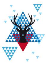 Christmas Deer With Geometric Pattern, Vector