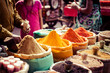 Leinwanddruck Bild - Traditional spices and dry fruits in local bazaar in India.