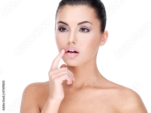 Face of a Pretty young woman with finger at  lips Poster