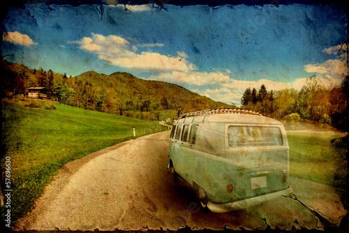 Obraz na plátně Retrobild - Fahrender Bulli