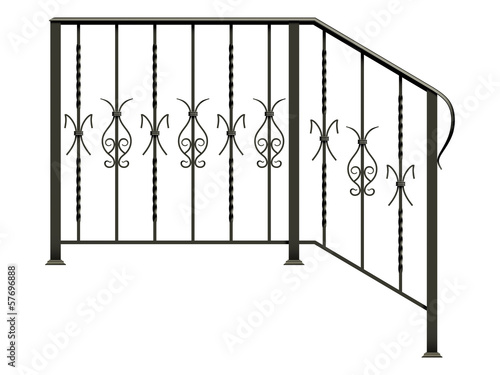 Tablou Canvas Wrought iron stairs railing isolated on white background