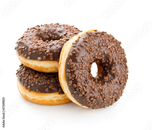 Photographie fresh donuts with chocolate isolated on white