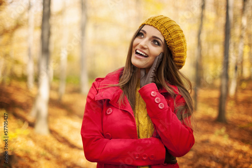 4dd4d12fff Happy woman wearing fashion autumn clothes - Buy this stock photo ...