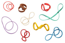 Twisted Colorful Elastic Rubber Bands Isolated On White Backgrou