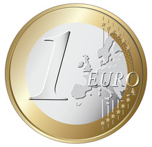 One Euro Coin Vector Illustrat...