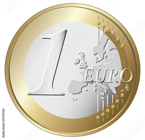 Fotografía  one euro coin vector illustration