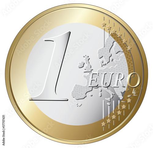 Fotomural one euro coin vector illustration