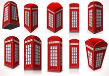 Set Of English Red Telephone C...