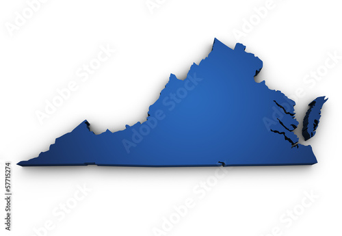 Map Of Virginia 3d Shape Wallpaper Mural
