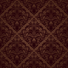 Seamless Brown Floral Vector Wallpaper Pattern.