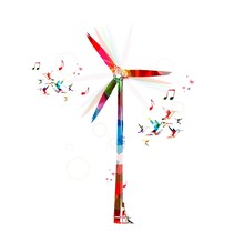 Colorful Vector Windmill Background With Hummingbirds