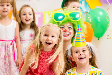 jolly kids group and clown on birthday party