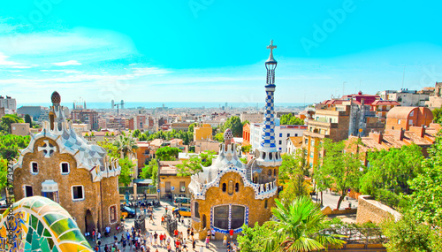 Papiers peints Barcelona The Famous Summer Park Guell over bright blue sky in Barcelona