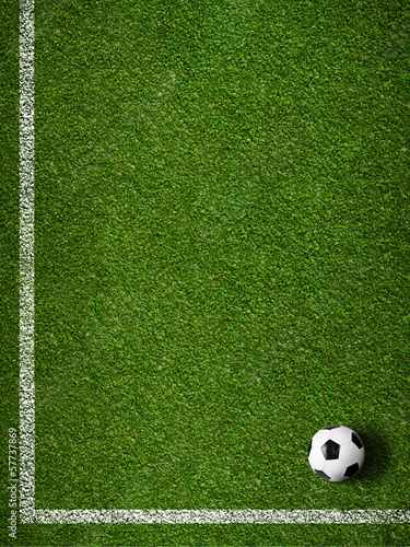 Fotografia  Soccer grass field with marking and ball top view