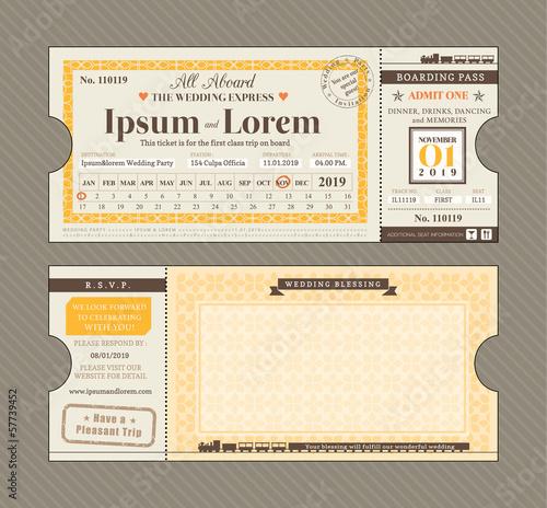 Vector Train Ticket Wedding Invitation Design Template - Buy this ...