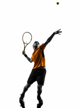 Man Tennis Player At Service S...