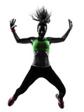 woman exercising fitness zumba dancing jumping silhouette - 57742415
