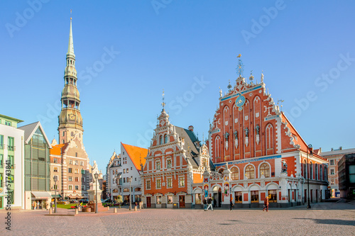 Town Hall Square in Riga, the capital of Latvia Canvas Print