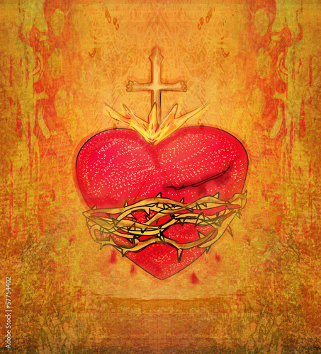 Tablou Canvas The Sacred Heart of Jesus on grunge background