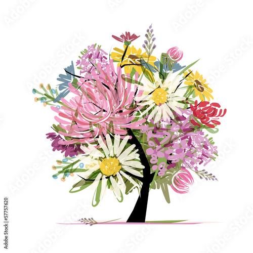 Foto op Aluminium Bloemen vrouw Floral summer bouquet, heart shape for your design