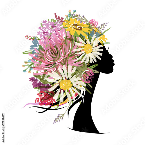 Deurstickers Bloemen vrouw Female portrait with floral hairstyle for your design