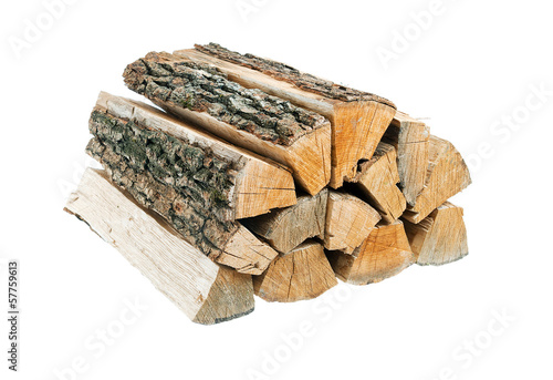 Bundle of firewood. Isolated. Wallpaper Mural