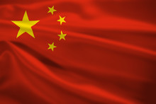 Peoples Republic Of China Flag Blowing In The Wind