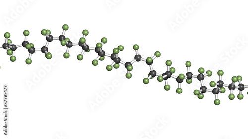 Fotografía  Polytetrafluoroethylene (PTFE) polymer, chemical structure