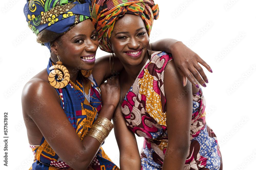 Fototapeta Beautiful African fashion modesl in traditional dress.