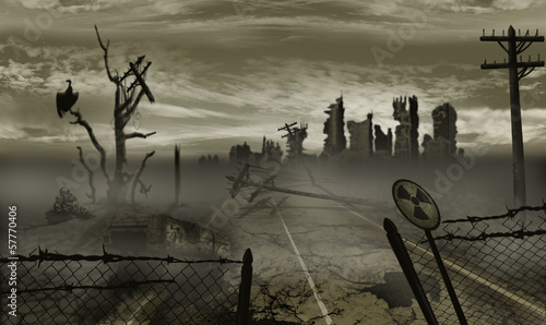 The illustration on the theme of the apocalypse Canvas Print