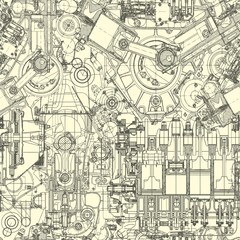 Drawing engine seamless pattern,  background.