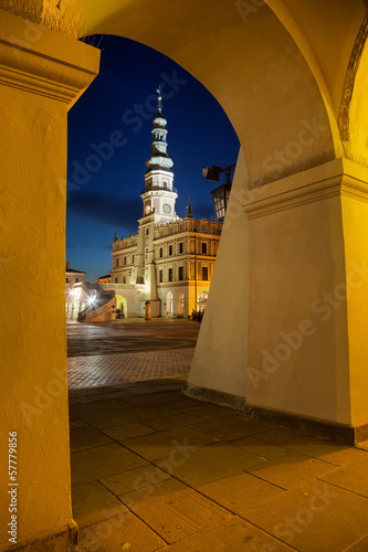 Town Hall at night in Zamosc, Poland.