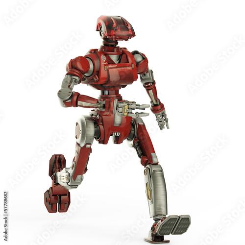 red robot running Wallpaper Mural