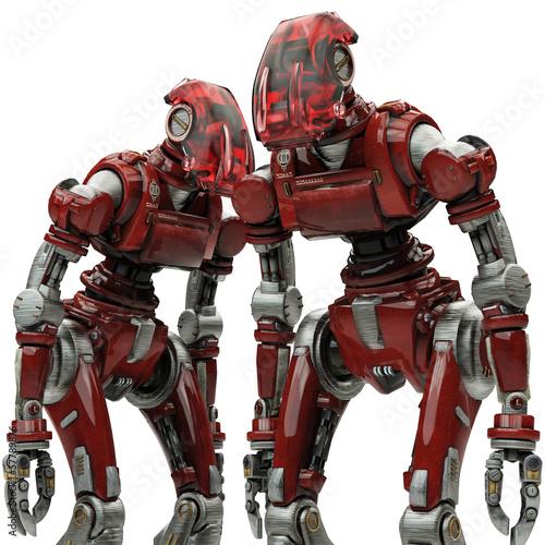 Photo  soldier robot weak duble view close up