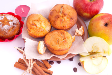 Naklejka na ściany i meble Muffins with apple and cinnamon