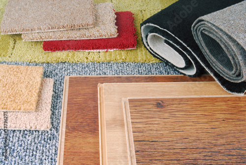 Fototapeta carpet and laminate choice for interior