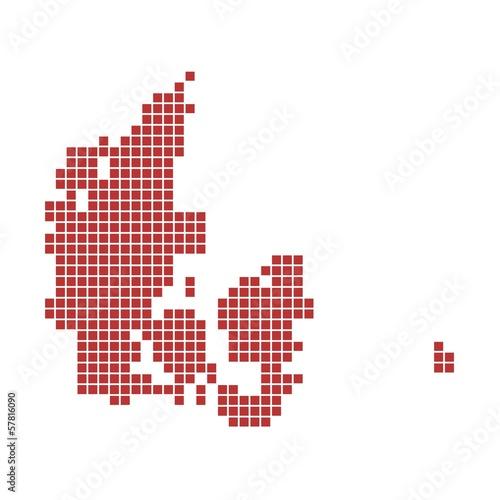 Photo  Landkarte von Dänemark aus roten Pixeln